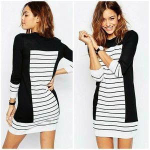 ASOS Knit Dress In Stripe With Blocking